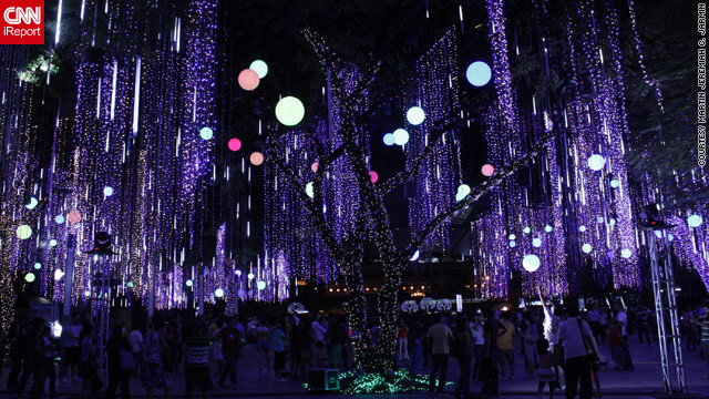 Christmas celebrations in the Philippines are the longest -- and most lavish -- in the world. These <a href='http://ireport.cnn.com/docs/DOC-887973'>beautifully lit trees </a>in Makati City, Philippines were captured by iReporter Martin Javin.