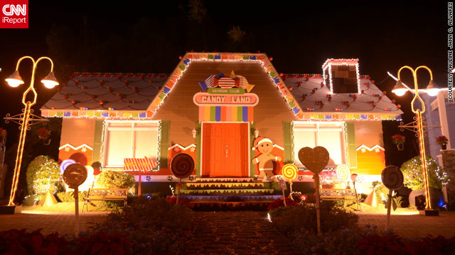 "Some displays are more common than others -- this unusual candy house display in Binan City intrigued iReporter Pauline Alvarez. ""You can't help but smile at the sight of this. Isn't that what Christmas is about?"" she said."