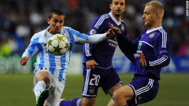 Malaga became the first Spanish side in Champions League history to take the field with 10 non-Spanish players in its starting line-up. Uruguay's Sebastian Fernandez, who is from Uruguay, was a constant menace for the Anderlecht defenders in a game which finished 2-2.