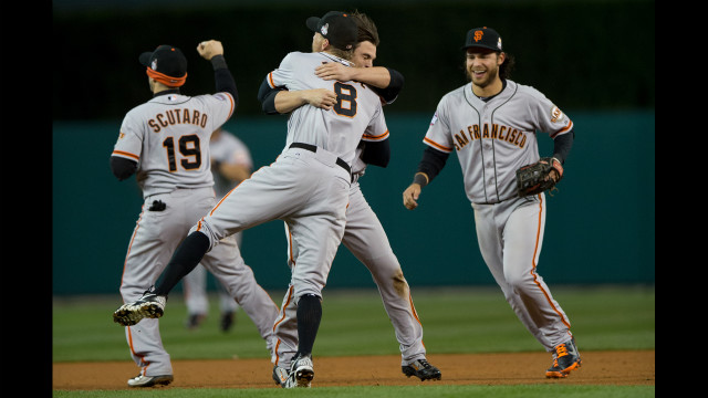 October 28: The San Francisco Giants celebrate defeating the Detroit Tigers in the 10th inning to win Game Four -- the deciding game -- of the World Series at Comerica Park in Detroit.