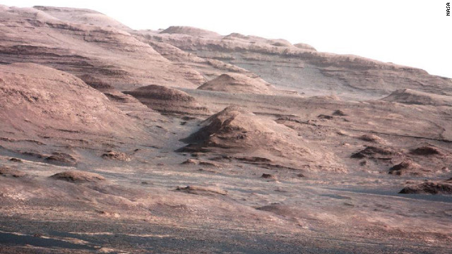 August 23: NASA's Curiosity rover transmits an image that shows the base of Mount Sharp, its eventual destination. Curiosity successfully landed on Mars on August 6. 