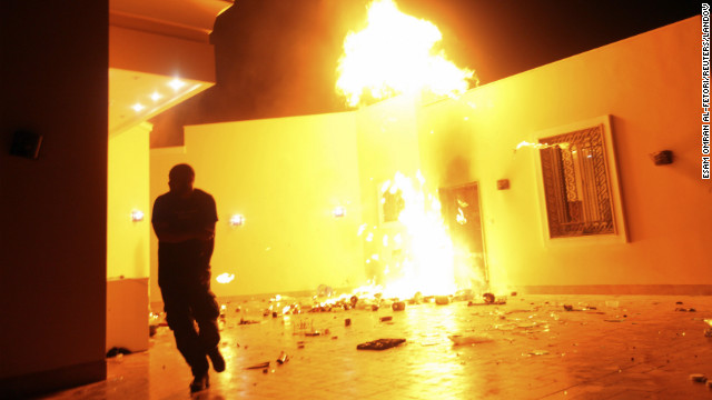 September 11: The U.S. Consulate in Benghazi, Libya, is consumed in flames. Chris Stevens, U.S. ambassador to Libya, was killed in an attack on the compound, as were three other Americans. The Obama administration has been criticized for its response to the attack.