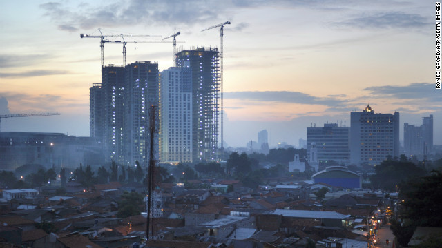 Property prices soared in cities including Jakarta (pictured) and Bali, rising by 38% and 20% respectively, as Indonesia's middle classes grew.&lt;!-- --&gt;
