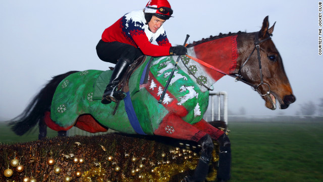 Champion British jockey Tony &quot;AP&quot; McCoy dons a matching Christmas jumper for The Jockey Club's unique equine calendar. Race horse Dr. Livingstone was painted by Rossa. 