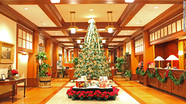 Kingsmill Resort in Williamsburg, Virginia, decorates for the Christmas holidays, even putting small trees in the suites of guests who order the holiday traditions package. 