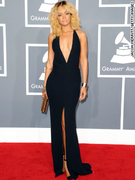 The &quot;Diamonds&quot; singer arrives at the 2012 Grammy Awards.