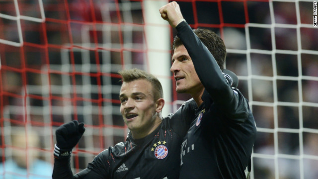 Mario Gomez and Xherdan Shaqiri were both on target as last year's finalist Bayern Munich secured top spot in Group F with a 4-1 win over 10-man BATE Borisov. Thomas Muller and David Alaba were also on target, while Denis Polyakov was sent off for BATE.