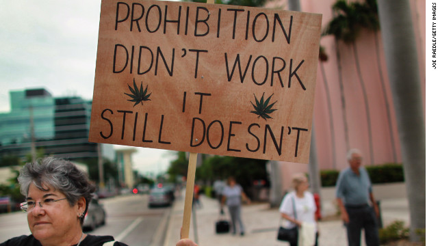 Karen Goldstein attends a rally in Fort Lauderdale, Florida, in support of legalizing marijuana.