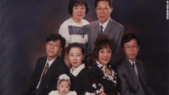 Sumi Jo (front row, second from right) with her parents and other family members. She was in Paris performing when her father died and missed his funeral because her mother persuaded her to stay and &quot;sing for your public.&quot; 