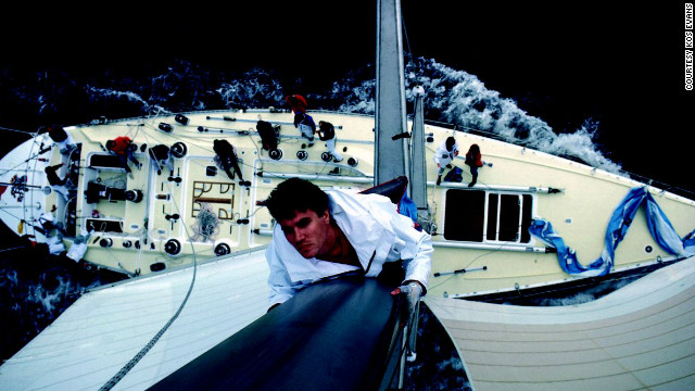 The British photographer captured Duran Duran singer Simon le Bon in this vertigo-inducing portrait. The musician almost died after his yacht capsized in the 1985 Fastnet Race.