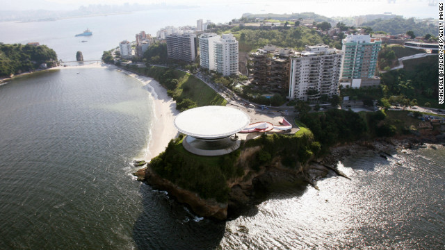 Niemeyer was considered one of the patriachs of Brazilian modernist architecture. He'd been hospitalized since early November suffering from kidney failure. This is an aerial view taken on April 30, 2009 of the famous Museum of Contemporary Art in Niteroi, near Rio de Janeiro, designed by Niemeyer.