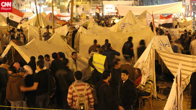 Anti-government protesters set up tents in Tahrir Square, calling on Morsy to reverse his decree, in this image by Sherine Mishriki from November 27. Protesters were angered by the nation's draft constitution, which liberal, secular groups said did not offer enough protections to women or religious minorities.