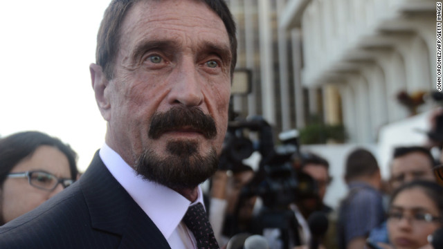US anti-virus software pioneer John McAfee in front of the Supreme Court in Guatemala City on December 04, 2012.