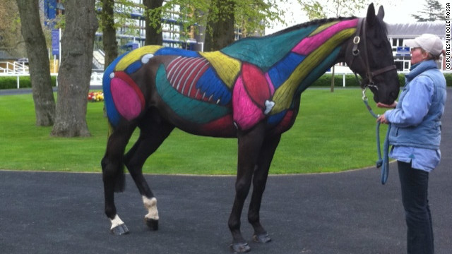 It usually takes around four hours to paint each thoroughbred, such as this one which Rossa displayed at Royal Ascot race course.