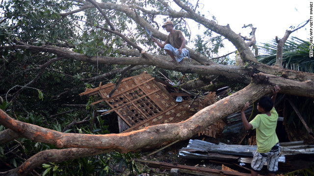 A resident cuts branches of a toppled tree in Montevista, Philippines, on December 6. It fell onto his house at the height of Typhoon Bopha.