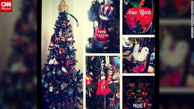 "Geraldine Nordfeldt (@diney1) decorates her tree with a sentimental collection of mementoes from her travels around the world. ""It's a very international tree! Each one tells a story from the place it was collected. It's a pleasure to hang them each year because each one brings back fond memories."""