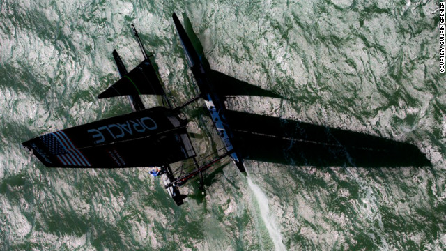 Resembling a black space ship, the U.S. team's yacht during the America's Cup was captured by photographer Guilain Grenier from a helicopter.
