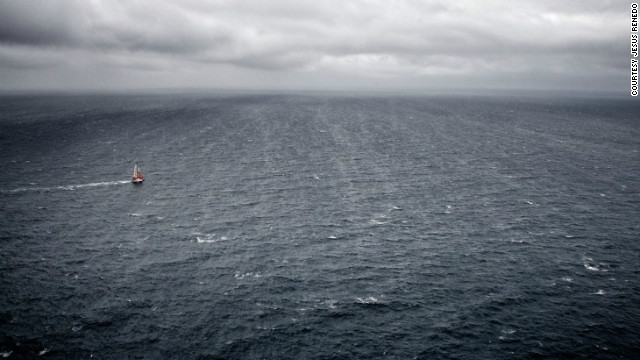 This haunting image of a lone yacht off the coast of Brittany, France, during the Vendee Globe race, was submitted by photographer Jesus Renedo.