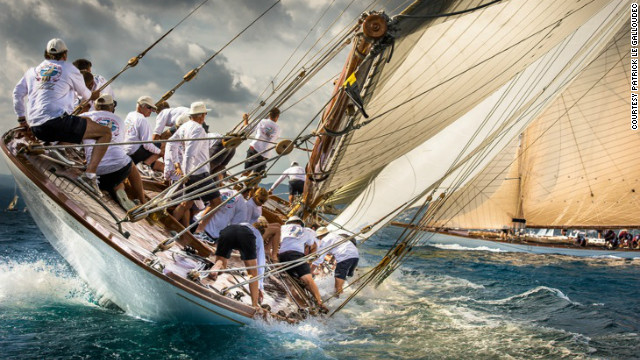 Competitors in this year's Les Voiles de St Tropez cling on to their boat in this otherworldly image by Patrick Le Galloudec.