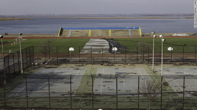 Athletic fields across the street from Ryan Panetta's school, Scholars' Academy, in Queens, remain in disrepair after Superstorm Sandy<!-- -->.</br>