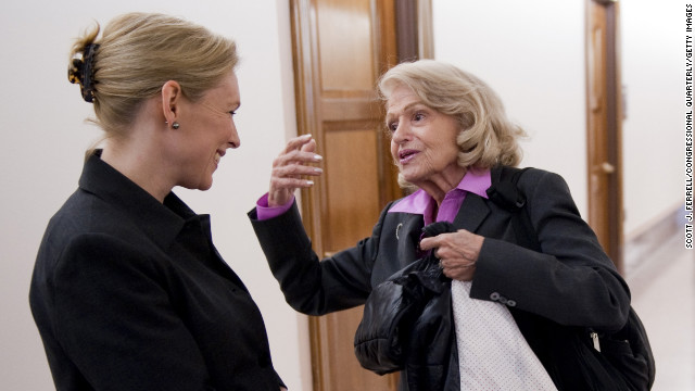 Sen. Kirsten Gillibrand of New York speaking with Windsor before a news conference, and 16 other Democrats introduced a bill to repeal the Defense of Marriage Act in 2011.