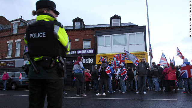 Pro-British protests erupted hours after nine officers were injured in rioting.