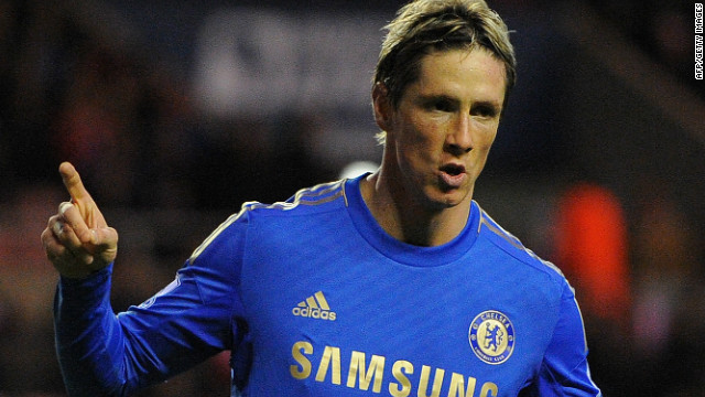 Chelsea's Spanish forward Fernando Torres celebrates after scoring his second goal against Sunderland on Saturday.