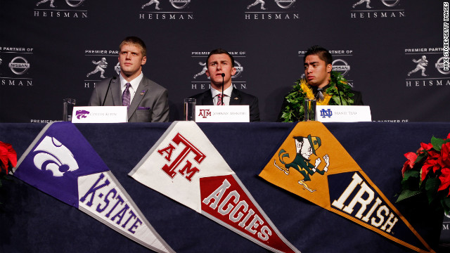 Left to right: Heisman finalists quarterback Collin Klein of the Kansas State Wildcats, Manziel and linebacker Manti Te'o of the University of Notre Dame Fighting Irish speak during a press conference prior to the 78th Heisman Trophy Presentation at the Marriott Marquis on December 8 in New York City.