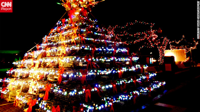 """This was the most unusual tree I had ever seen,"" said iReporter, <a href='http://ireport.cnn.com/people/MarieSager'>Marie Sager</a>, who shot this impressive image of creative festive decorations in Provincetown, Massachusetts. ""It was built with lobster cages, decorated with plastic ... seashells and topped with nautical items. Perfect for a town by the sea."""