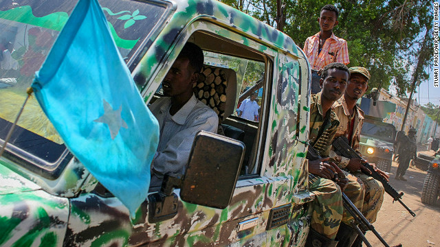 This photo released by the African Union-United Nations on November 18 shows soldiers of the Somali National Army.