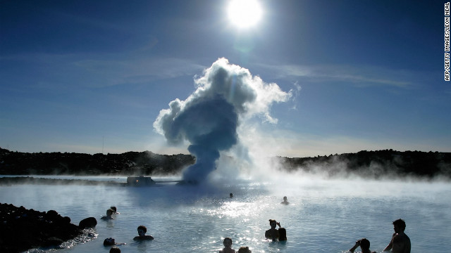 Tourists bathe in the famous Blue Lagoon just outside Reykjavik. The natural hot-water springs are one of the country's leading tourist attractions. 