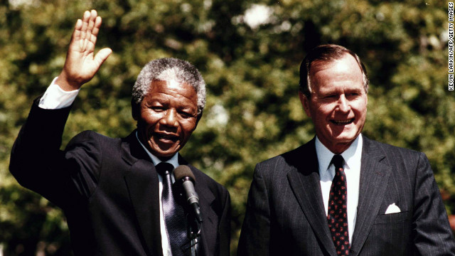 After his release in 1990, Mandela embarked on a world tour, meeting U.S. President George Bush at the White House in June.