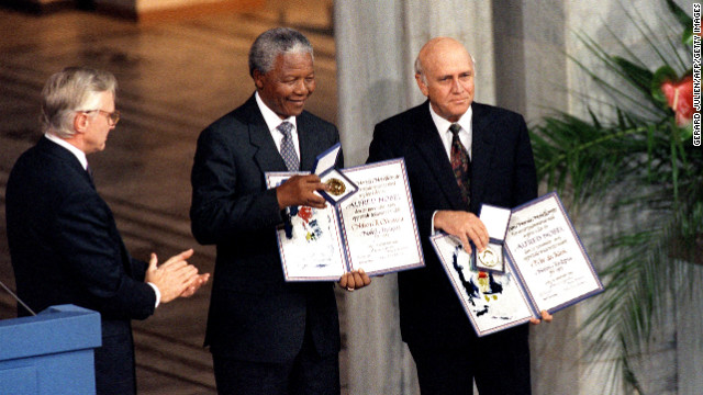 South African President Frederik de Klerk, right, and Mandela shared a Nobel Peace Prize in 1993 for their work to secure a peaceful transition from apartheid rule.