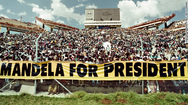 An estimated 40,000 ANC supporters listen to Mandela's address during a 1994 rally ahead of South Africa's general election.