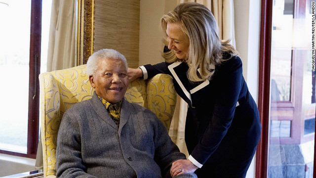U.S. Secretary of State Hillary Clinton meets with Mandela, 94, at his home in Qunu, South Africa, on August 6, 2012.