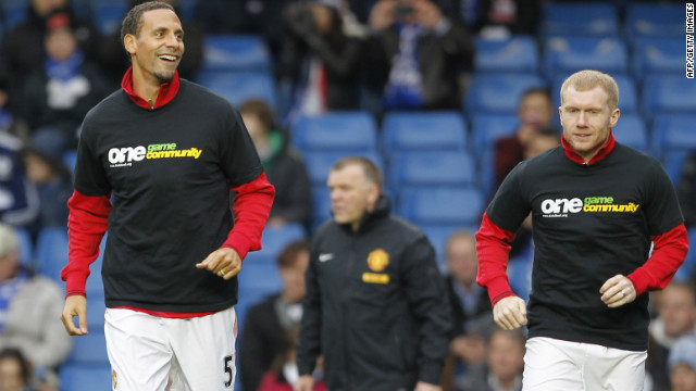 Ferdinand, left, wore a t-shirt supporting the anti-racism group Kick It Out in October, having earlier refused to do so in protest at a perceived leniency in punishment for John Terry, who was accused of racially abusing the United player's younger brother Anton. Kick It Out chairman Herman Ouseley has also criticized the English FA and the Premier League for failing to take strong action in recent high-profile racism cases.