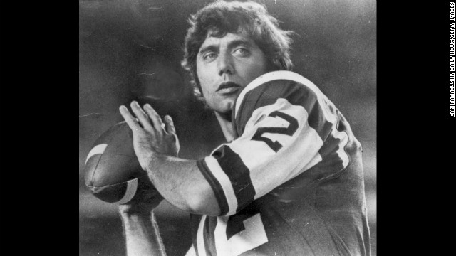 """Broadway"" Joe Namath was nothing if not flamboyant, whether it was rocking a full-length fur coat on the sidelines or guaranteeing a Super Bowl win over the highly favored Baltimore Colts in Super Bowl III (his New York Jets pulled off a 16-7 shocker). Signed for $400,000 in 1965, he played 13 seasons, mostly with the Jets, and played in four AFL all-star games and one Pro Bowl."