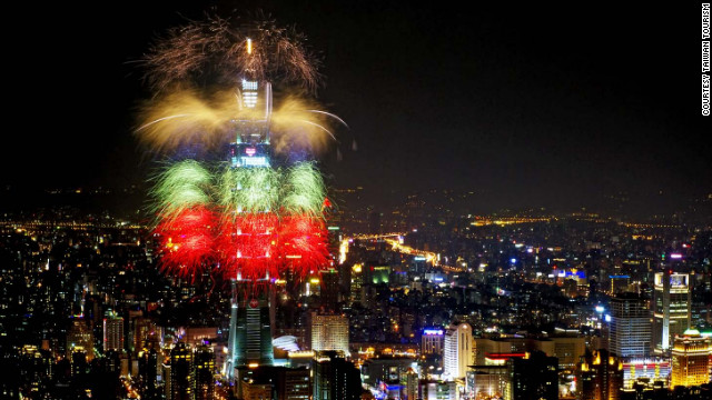 The Taiwanese capital thinks big when it comes to New Year's Eve, transforming the 509-meter-high Taipei 101 tower into a frenzy of colorful fireworks.