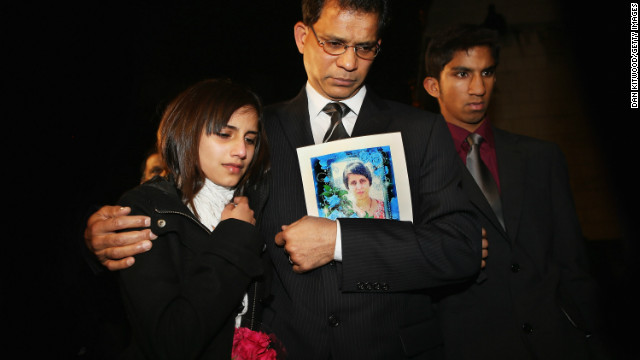 The family of Jacintha Saldanha -- daughter Lisha, husband, Ben Barboza, and son Junal -- in London on Monday.