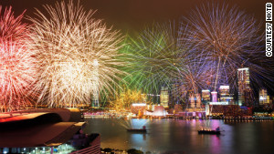 Firework\'s light up Hong Kong\'s Victoria Harbour.