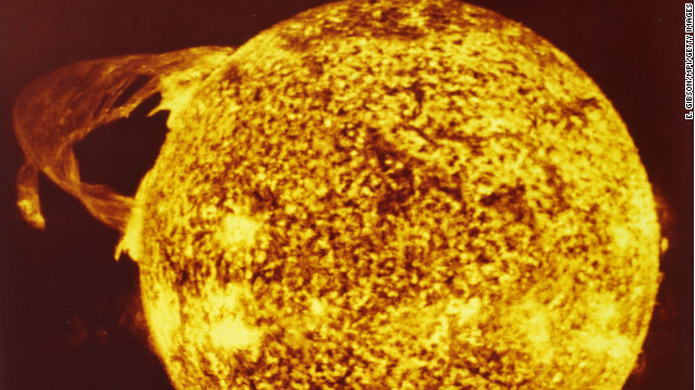 A solar flare on the surface of the sun, caused by the sudden release of energy from the magnetic field, 1974