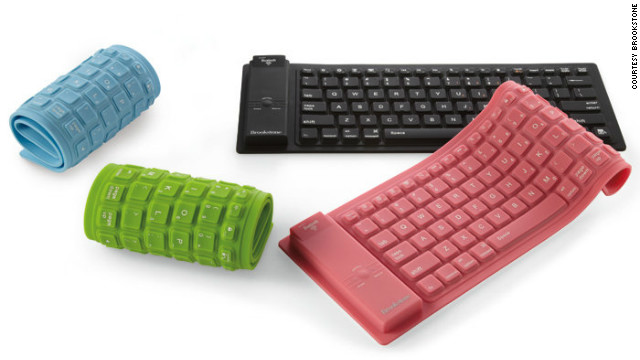 Do you find typing on a tablet tiresome? This flexible silicone keyboard may be for you. It pairs wirelessly with your Bluetooth-enabled iPad and rolls up for easy storage or travel. It's also waterproof, which is handy for clumsy coffee drinkers. Available for $60 from &lt;a href='http://www.brookstone.com/bluetooth-silicone-keyboard?bkeid=compare%7cmercent%7cgooglebaseads%7csearch&amp;mr:trackingCode=20813158-1FAB-E111-AC8D-001B21A69EB0&amp;mr:referralID=NA&amp;mr:adType=pla&amp;mr:ad=15575820804&amp;mr:keyword=&amp;mr:match=&amp;mr:filter=44048494284&amp;gclid=CJnijr61k7QCFQiqnQod0U4ARQ'&gt;Brookstone&lt;/a&gt;.