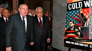 Mikhail Gorbachev and Henry Kissinger attend an event about the Cold War in April. The writers say the U.S nuclear program is based on yesteryear\'s Cold War ideology.