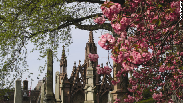 A gothic-style arch marks the entrance to Brooklyn's Green-Wood Cemetery, home to nearly 600,000 grave sites, including infamous politicians, sports figures and inventors. Here's a look at the 175-year-old burial grounds, which sustained some damage this fall during Superstorm Sandy: 