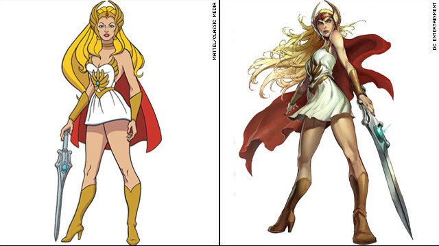 Here's how the heroine looked in 1985, left, and the updated 2012 version. The new release presents a darker, more unusual take on She-Ra.