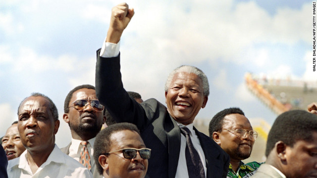 Nelson Mandela, now 94, endured 27 years in prison before becoming South Africa's first president from 1994 to 1999. Pictured, Mandela in Mmabatho for an election rally on March 15, 1994.