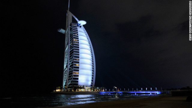 The world-famous Burj Al Arab hotel is renowned for its outstanding architectural design and customer service, which includes chauffeured Rolls Royce cars for guests.