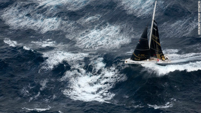 Two-time award winner Thierry Martinez had hoped to pick up his third trophey with this image of a yacht during the Vendee Globe race. Instead, he was awarded third place.