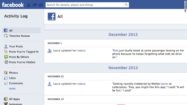 An update to Facebook's Activity Log will make it easier to see your activity across the site, not just on your Timeline.