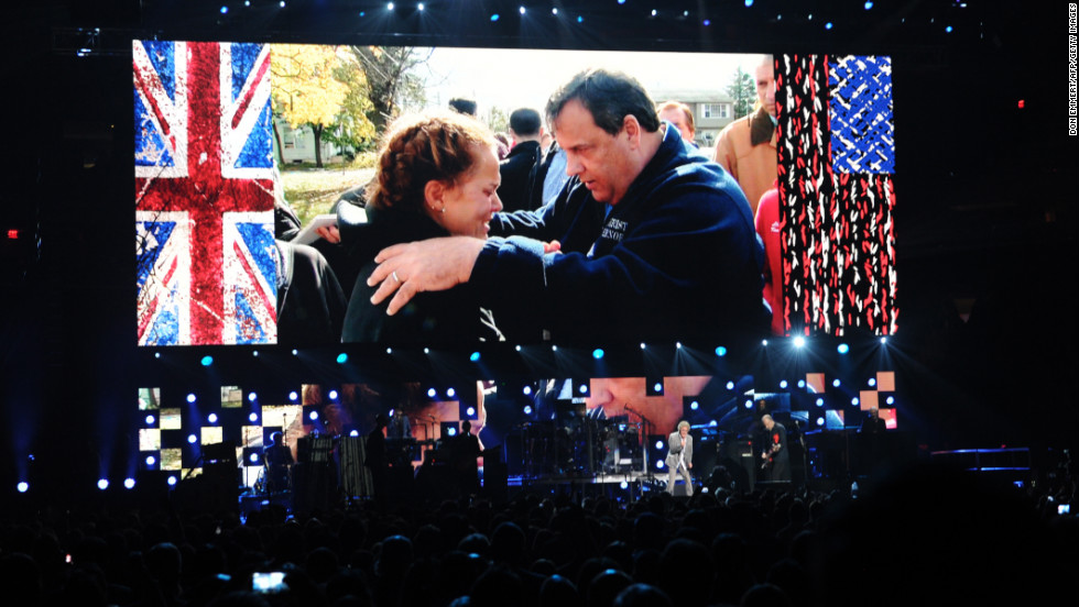 A video of New Jersey Gov. Chris Christie speaking to a victim of Hurricane Sandy is projected as The Who perform during 12-12-12: The Concert For Sandy Relief on Wednesday, December 12, at Madison Square Garden in New York. The concert was held to benefit The Robin Hood Relief Fund to aid the victims of Superstorm Sandy.